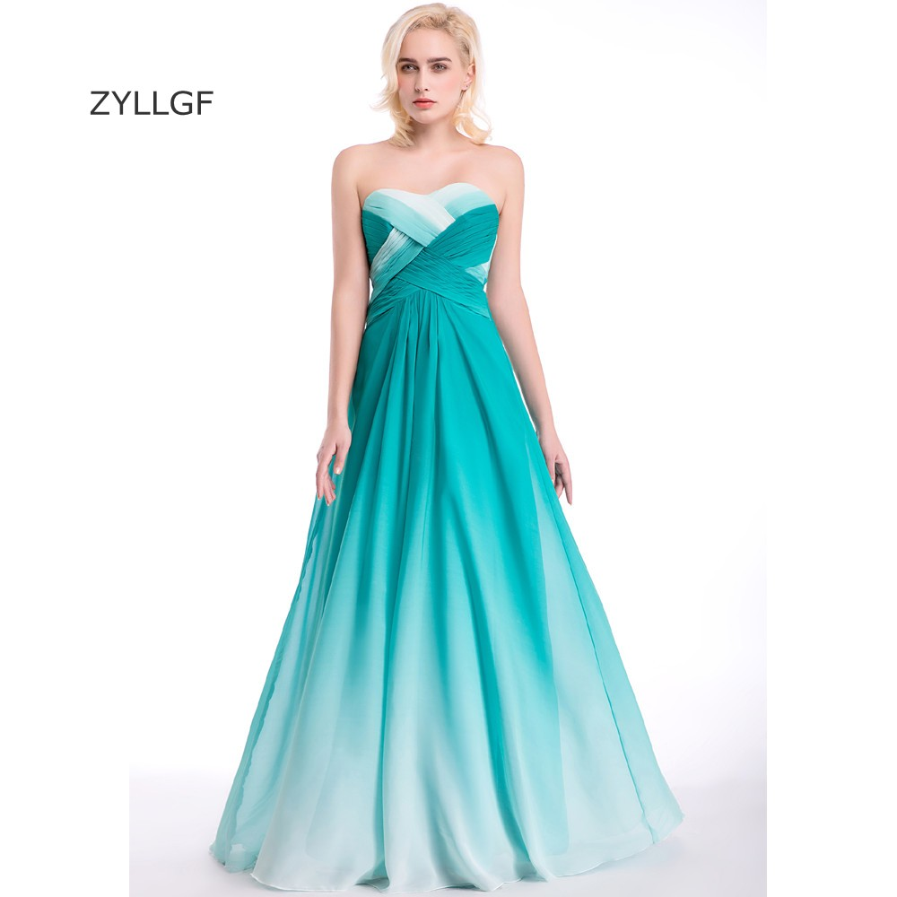 ZYLLGF Gradient Bridesmaid Dress Sheath Sweetheart Long Chiffon 8th ...