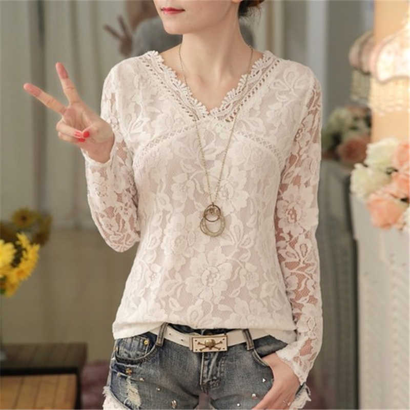 women blouses white lace blouse new fashion v-neck woman shirt sexy  hollow out long sleeve chic slim fit plus size ladies tops