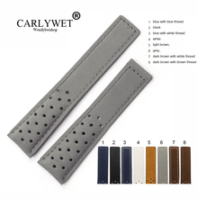 CARLYWET 20 22mm Real Calf Leather Grey Suede VINTAGE Replacement Wrist Watch Band Strap Belt