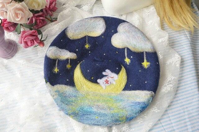 Принцесса сладкий лолита Шерстяного войлока берет Луна кролик мечта фэнтези лес 001