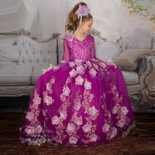 High End Flower Pageant Dresses Communion Dress Lace Beaded Birthday Dresses Kids Party Dresses Ball Gown Girls Long Sleeves