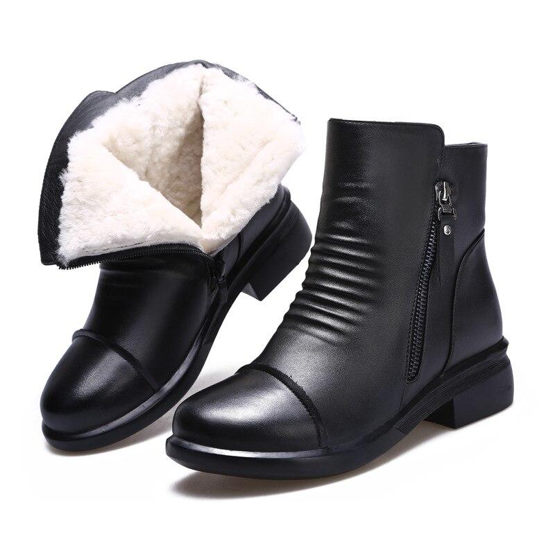 Bottes Xryxgs Marque Bas Peau Best Laine Chaud Noir Cheville De Chaussures  Fourrure Vache Neige Femmes ... 60800149d19a