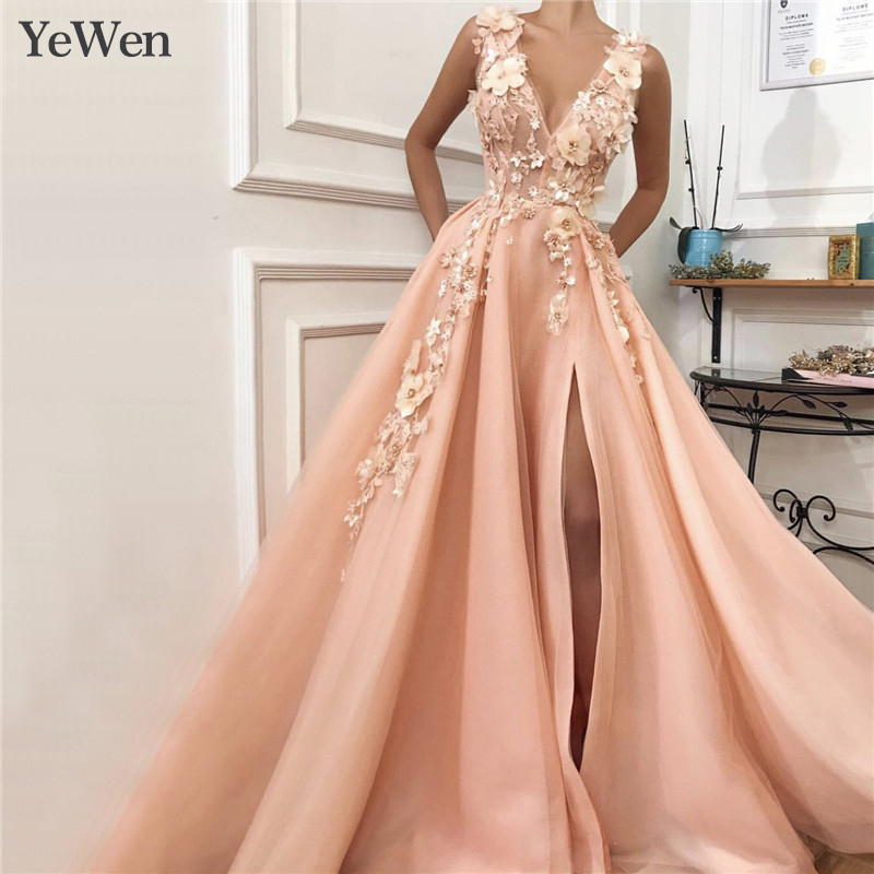 Gorgeous Gold Appliques   Evening     Dresses   2019 New Sexy   Evening     Dress   Long Formal   Dress   Women Elegant Robe De Soiree YM20244