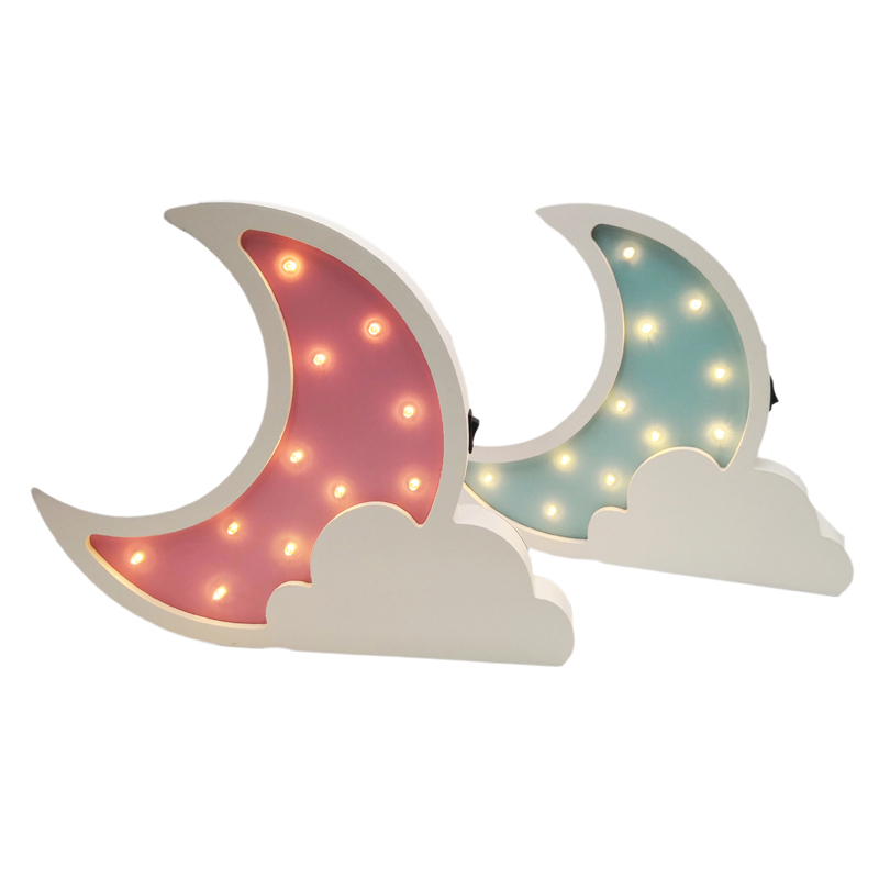 Wooden Moon Led Night Light Lovely Star Wall Lamp Bedside 3D Light Nightlight Room Home Decorative Indoor Lighting IY304123-17