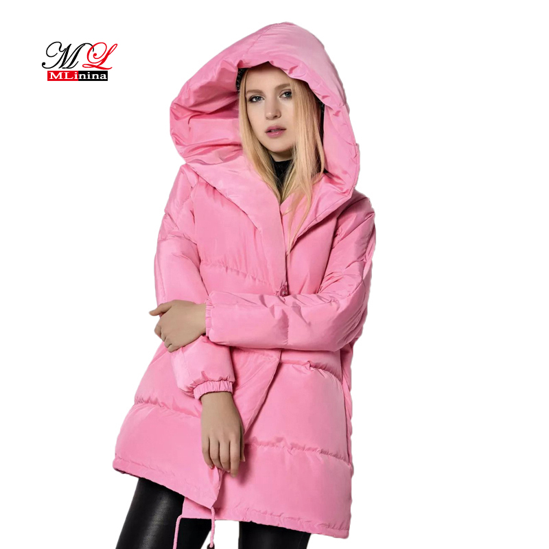 MLinina 2017 New Women Winter Jacket Warm Hooded   Parkas   Female Overcoat Outerwear White Duck Down Loose Coat Casual Mujer   Parka