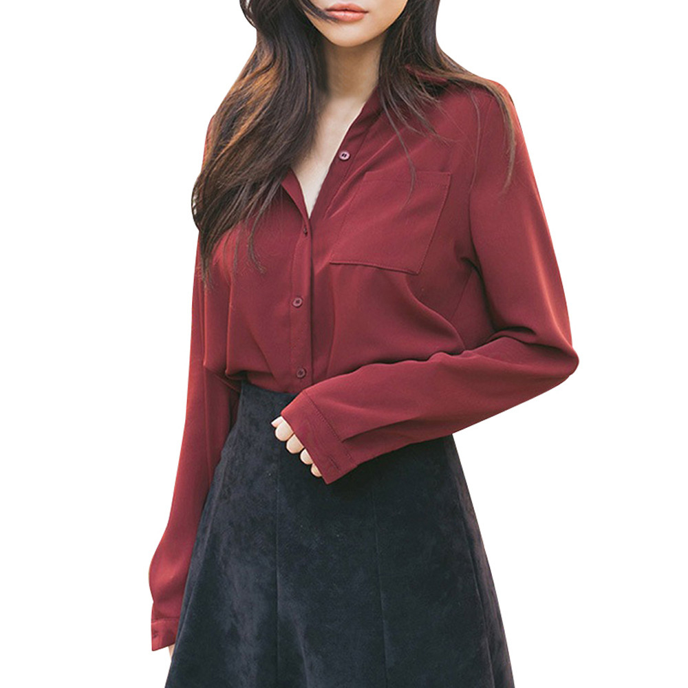 JAYCOSIN 2018 Fashion Women Solid Long Sleeve Button Loose Formal Office Work Shirt Top Blouse dropshipping csv PG19