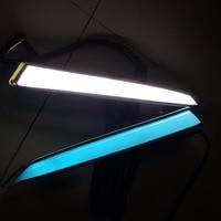 2 Pcs Led Daytime Running Light Fog Lamp Drl With Turning Dimmer Function White Yellow Blue