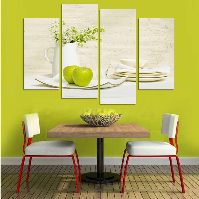 Modular Canvas Kitchen Home Decor Paintings 4 Panel Apple Vase ...