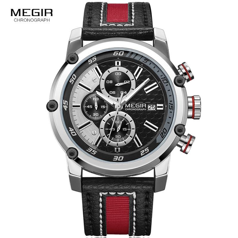 Image 3 - Мужские кварцевые часы MEGIR, водонепроницаемые часы с кожаным ремешком, модные наручные часы с секундомером, светящиеся стрелы 2079GBK 1Спортивные часы   -