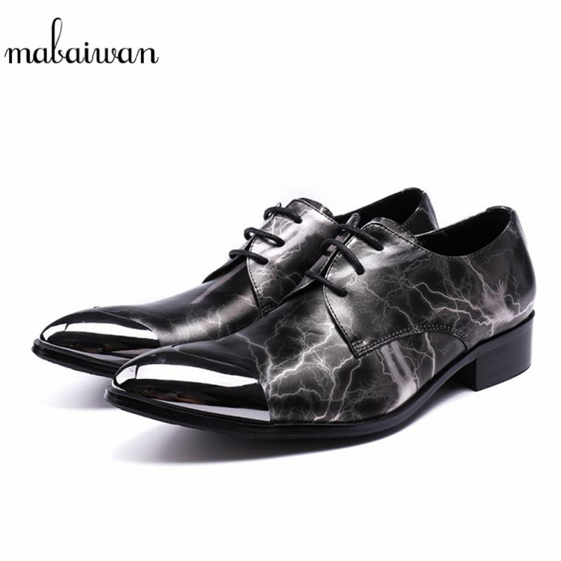 Mabaiwan Fashion Casual Shoes For Men Black Genuine Leather Shoes Men Loafers Slipper Wedding Dress Shoes Metal Handmade Flats 2017 new spring imported leather men s shoes white eather shoes breathable sneaker fashion men casual shoes