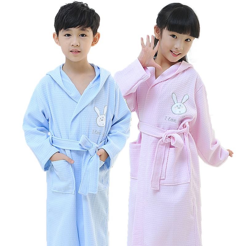 Men's Sleep & Lounge Bathrobe Kids Boys Robe For Children 100% Cotton Warm Lengthen Robe Thicken Hooded Dressing Gown Men Towel Fleece Pajamas