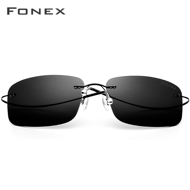 FONEX de aleación de titanio sin montura gafas de sol polarizadas hombres ultraligero sin tornillos sin marco cuadrado lentes de sol para dama 20007 3
