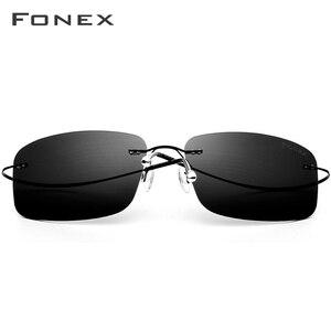 Image 3 - FONEX lunettes de soleil carrées sans vis, polarisées sans bords, en alliage de titane, pour hommes et femmes, ultraléger, 20007