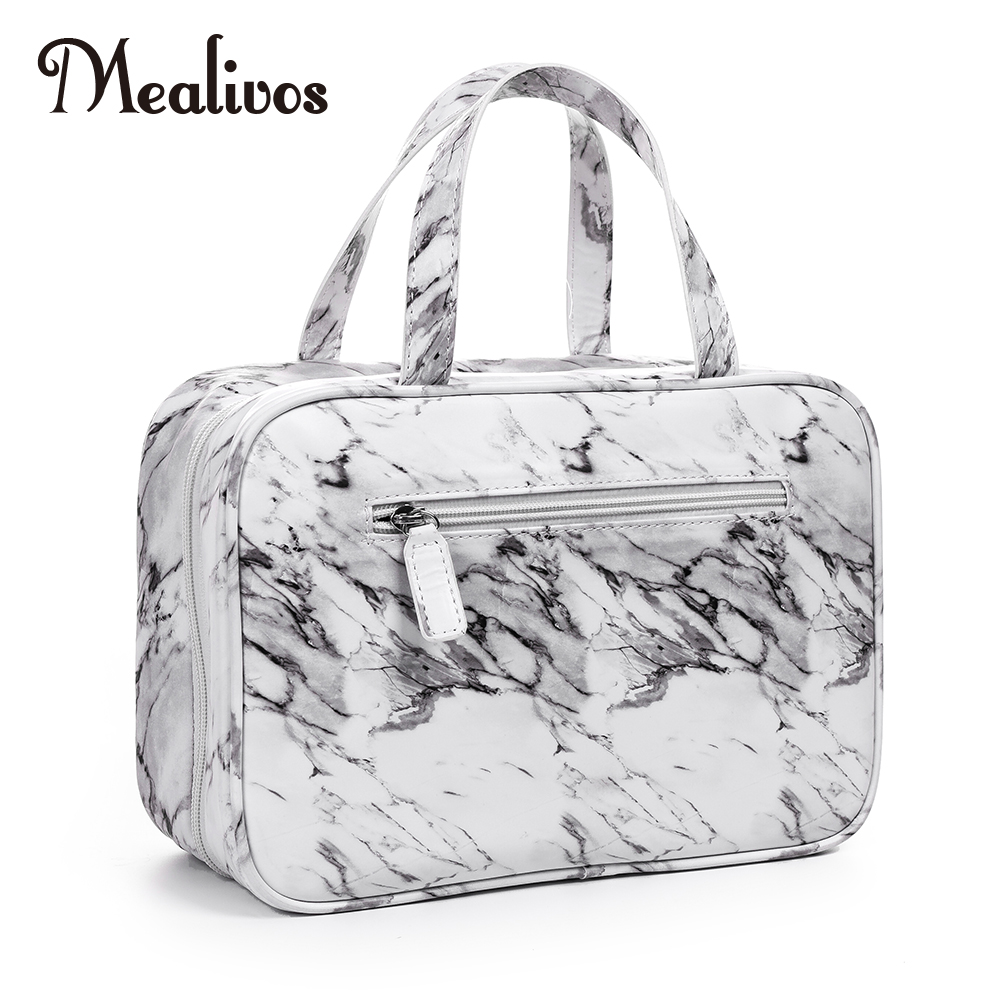 MyMealivos Marble Large Versatile Travel Cosmetic Bag - Perfect Hanging Travel Toiletry Organizer