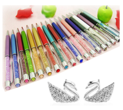 New gift swarovski crystal pen big diamond on top for students crystalline lady ballpoint pen stationery.jpg 250x250