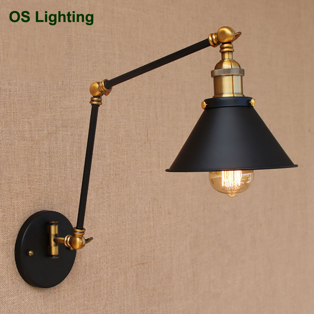 Loft black vintage industrial style adjustable long arm retro wall lamp E27 LED wall lights for home hallway bedroom living room nordic loft creative loft milan industrial style modern bedroom study long arm living room villa copper bronze wall sconce lamp