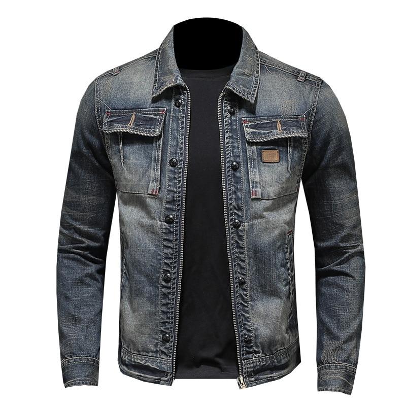 Denim Classic COWBOY Long Sleeve Button Jeans Jacket Coat Vintage Outwear Men