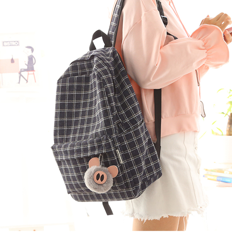 2018  New Design Plaid Linen Girls Backpack Women Leisure Bag Teenager School Student Book Bag Daily Shopping Bag Young
