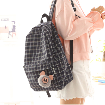 2020  new design plaid linen girls backpack women leisure bag teenager school student book bag daily shopping bag young ajalt japanese for young people ii student book