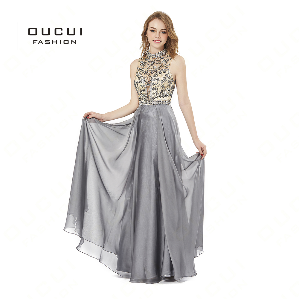 Real Photo Gray Chiffon Fabric Beading   Prom     Dresses   Formal Halter Sleeveless Evening   Dress   Party Occasion BL1817