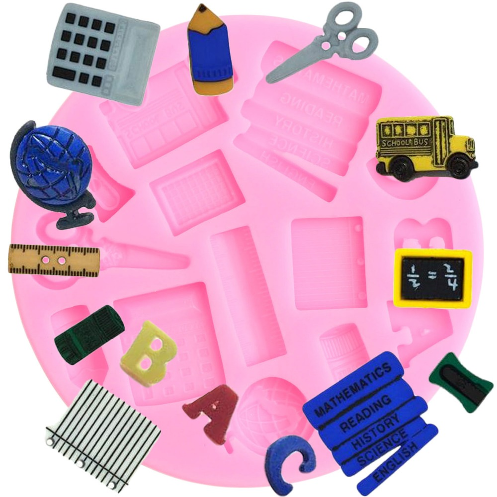 US $2 55 40% OFF|Study Tools Silicone Mold Globe Book Scissor Car Ruler Pen  Fondant Molds Party Birthday Cake Decorating Candy Chocolate Mould-in Cake