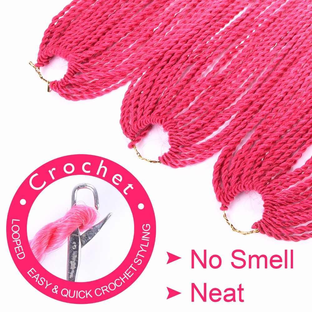 Silike 24 дюймов Омбре Сенегальские вьющиеся волосы вязанные крючком косы 30 корней предварительно нагнутые синтетические кроличьи плетеные волосы для женщин