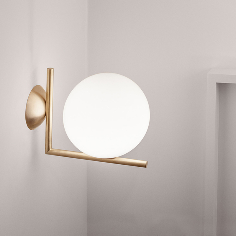 Modern Creative Metal Silver / Golden Plating Wall Sconce with LED E27 White Frosted Glass Ball Shade Wall Lamp for PassageModern Creative Metal Silver / Golden Plating Wall Sconce with LED E27 White Frosted Glass Ball Shade Wall Lamp for Passage