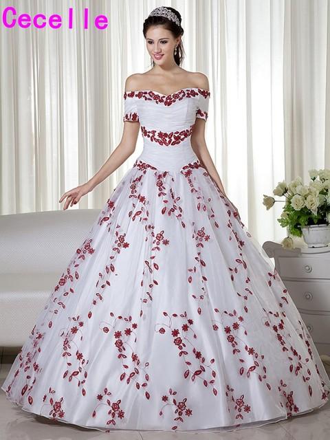 לבן ואדום כהה שני צלילים כדור שמלת חתונת שמלות נסיכה כבויה כתף ללא מסורתי בציר צבעוני כלה שמלות