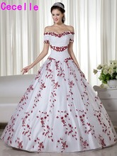 White and Dark Red Two Tones Ball Gown Wedding Dresses Princess Off The Shoulder Non Traditional Vintage Colorful Bridal Gowns