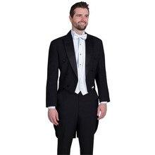Мужские свадебные костюмы на заказ, смокинги для жениха, Женихи, Мужские приталенные официальные фраки XS-6xl, черный пиджак, брюки, белый жилет, 3 штуки