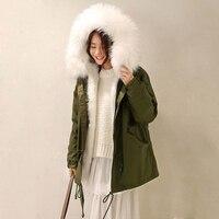 New Women Winter 2018 Army Green Jacket Coats Thick Parkas Raccoon Fur Collar Hooded Outwear CC308