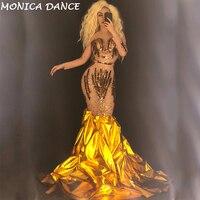 Для женщин Sexy Чистая Пряжа Золотое Платье сверкающими пайетками кристаллы для ночного клуба вечерние этап одежда шоу Bling костюмы для танцор