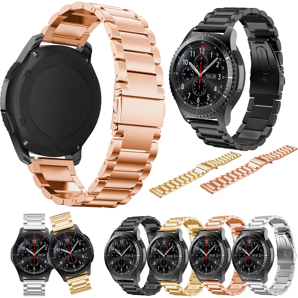 For Samsung gear s3 Smart Watch Metal Strap 3 link Bracelet Stainless Steel Band Bracelet Classic black gold for Samsung S3 цены