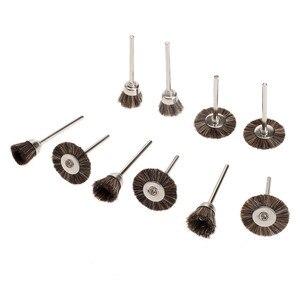 Image 4 - 10 adet Dremel Aksesuarları Parlatma Tekerlekleri fırça kiti Döner Araçları için Mini Matkap Metal Parlatma Parlatma Çapak Alma tekerlek fırçası