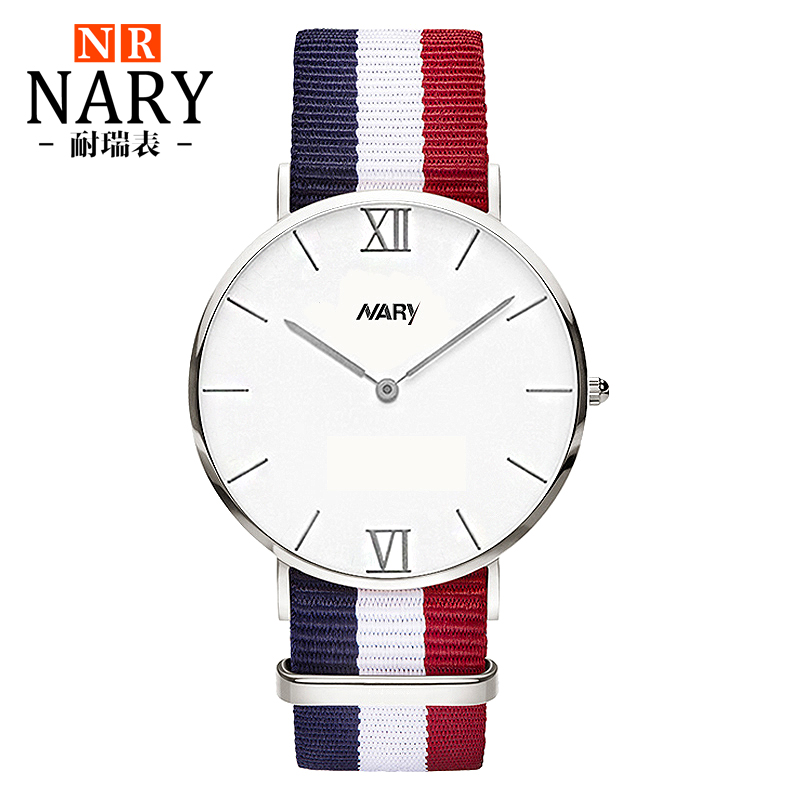 NARY Luxury Brand New Fashion Watch Women Men Elegant Nylon Color Strap Roman Number Casual Quartz