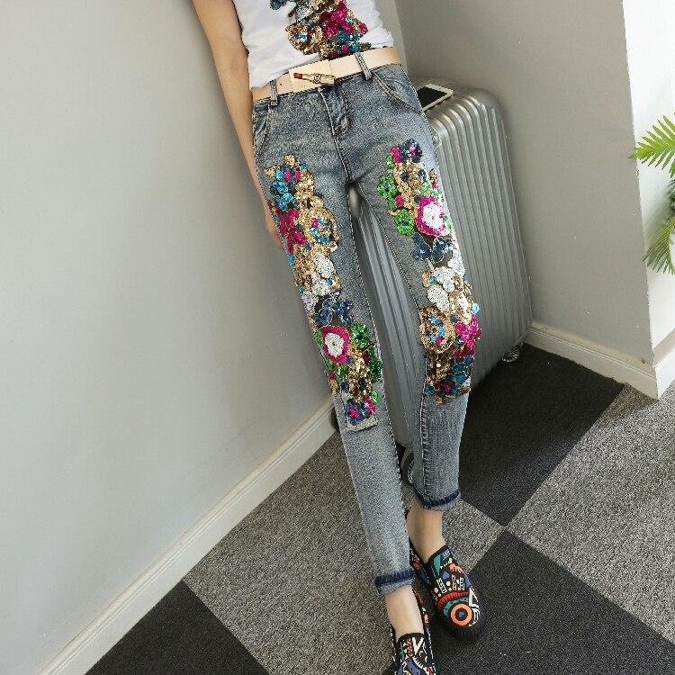 KL1211 Fortement individualise cassé femmes denim jeans de haute qualité à la main paillettes femelle crayon pantalon