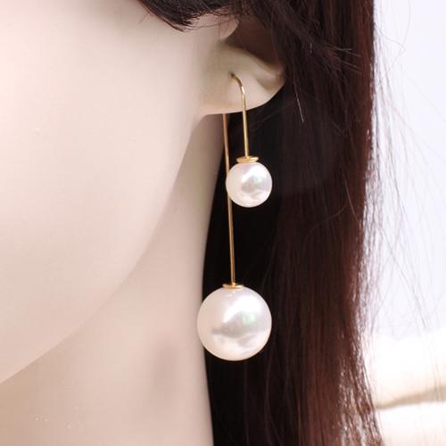 Fashion Women U-Shaped Double Sided Faux Pearl Ball Drop Dangle Earrings Party Jewelry
