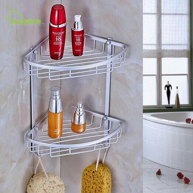 Space Aluminum Bathroom Shelf Antique Brass Double Layer Corner ...