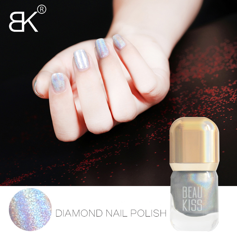 BK Brand Shine Diamond Holographic Stamping Nail Polish Long Lasting Quickly Dry Nail Lacquer 15 Colors Stamp Holo Enamel Paint
