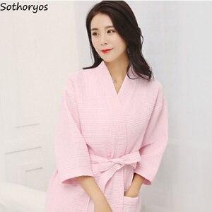 Image 5 - Женские халаты, хлопковый Повседневный халат с поясом, элегантный халат для ванной, спа, однотонное кимоно, повседневная женская одежда для сна, дышащий Халат