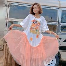 2019 Summer cartoon print sequins mesh dresses fashion women irregular hem long dresses