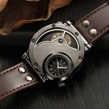 Unique Design Man Quartz Watches Top Brand Luxury Leather Strap Military