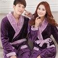 2017 Otoño Invierno Albornoces Mujer Hombre Pareja Albornoz Bata de Franela de Manga Larga Bata ropa de Dormir Camisón Homewear