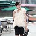 2015 New Genuine Mongolian Fur Vest Fashion Women Sheep Fur Waistcoats Lamb Fur Gilet Jacket
