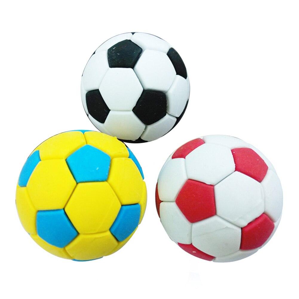 3Pcs Football Soccer Rubber Eraser Creative Stationery School Supplies Gift Kids