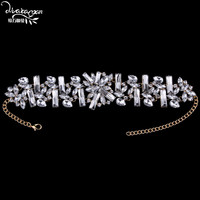 Dvacaman Brand 2016 New Fashion Za Flower Crystal Choker Necklace Women Vintage Gold Plated Maxi Necklace