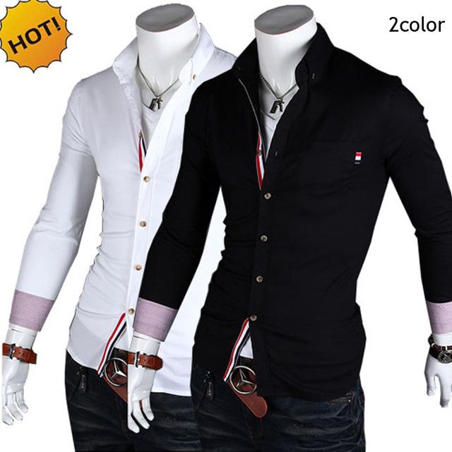Moda 2016 Del Otoño Del Resorte Tira Patchwork Da Vuelta-abajo Camisas de Esmoquin ropa de la marca de Los Hombres camisa masculina casado Camisa de la Base