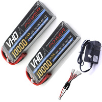 VHO 2S Lipo Battery 7.4V 10000mah 25C 2pcs and UL charger For S800 S900 S1000 Helicopter RC Model Quadcopter Airplane Drone
