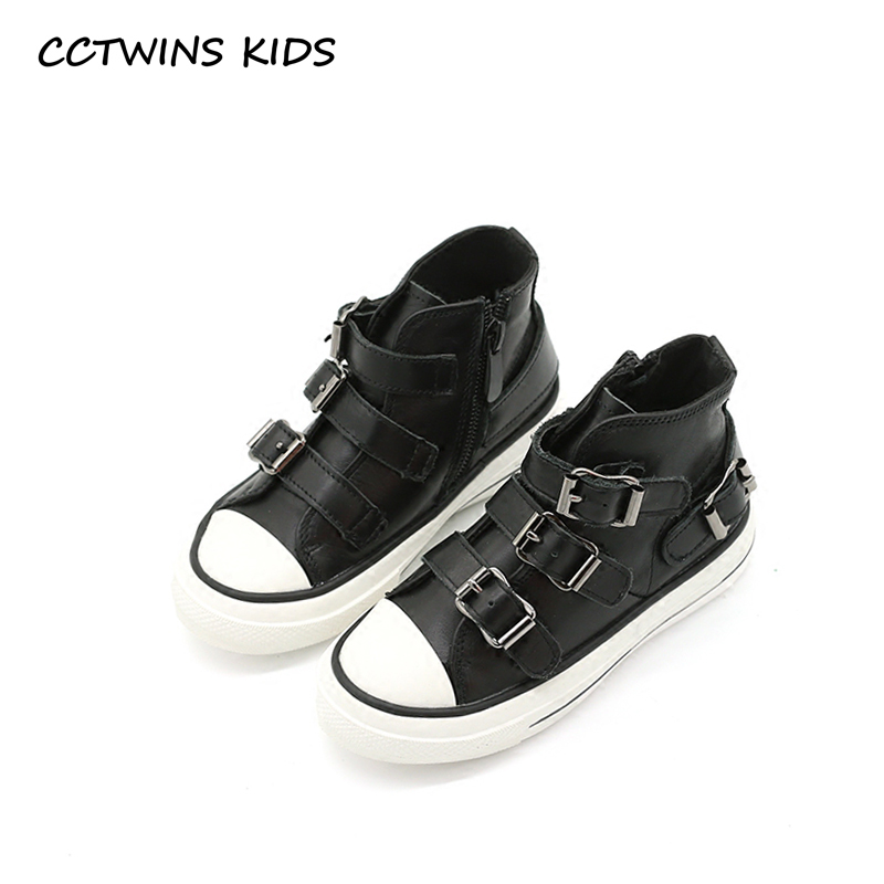 CCTWINS KIDS 2017 Toddler Fashion Genuine Leather Shoe Baby Girl Kid High Top Flat Children Buckle Black Sport Trainer F1889 teva jansen leather kids sport shoe toddler little kid big kid