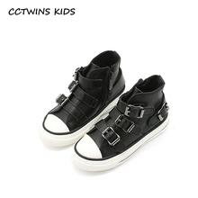 CCTWINS KIDS 2017 Toddler Fashion Genuine Leather Shoe Baby Girl Kid High Top Flat Children Buckle Black Sport Trainer F1889